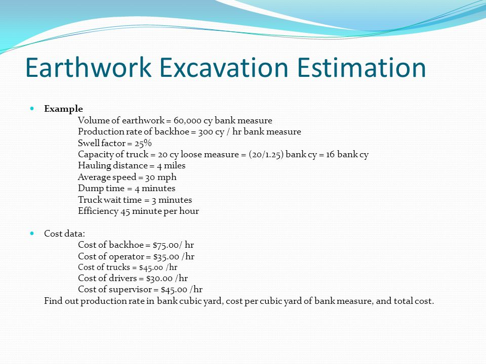Earthwork Excavation Estimation