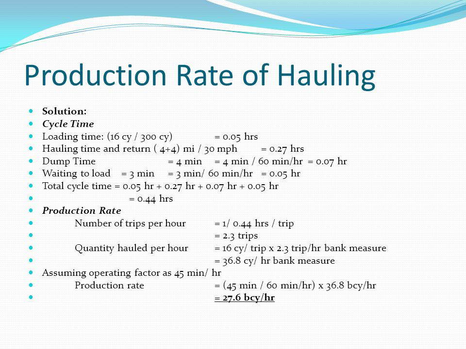 Production Rate of Hauling