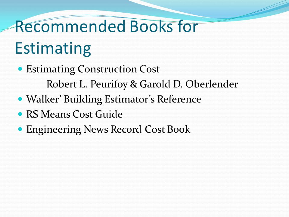 Recommended Books for Estimating