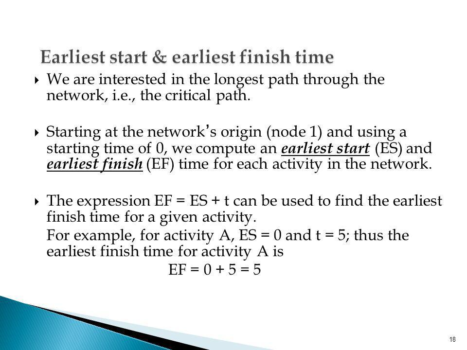 Earliest start & earliest finish time