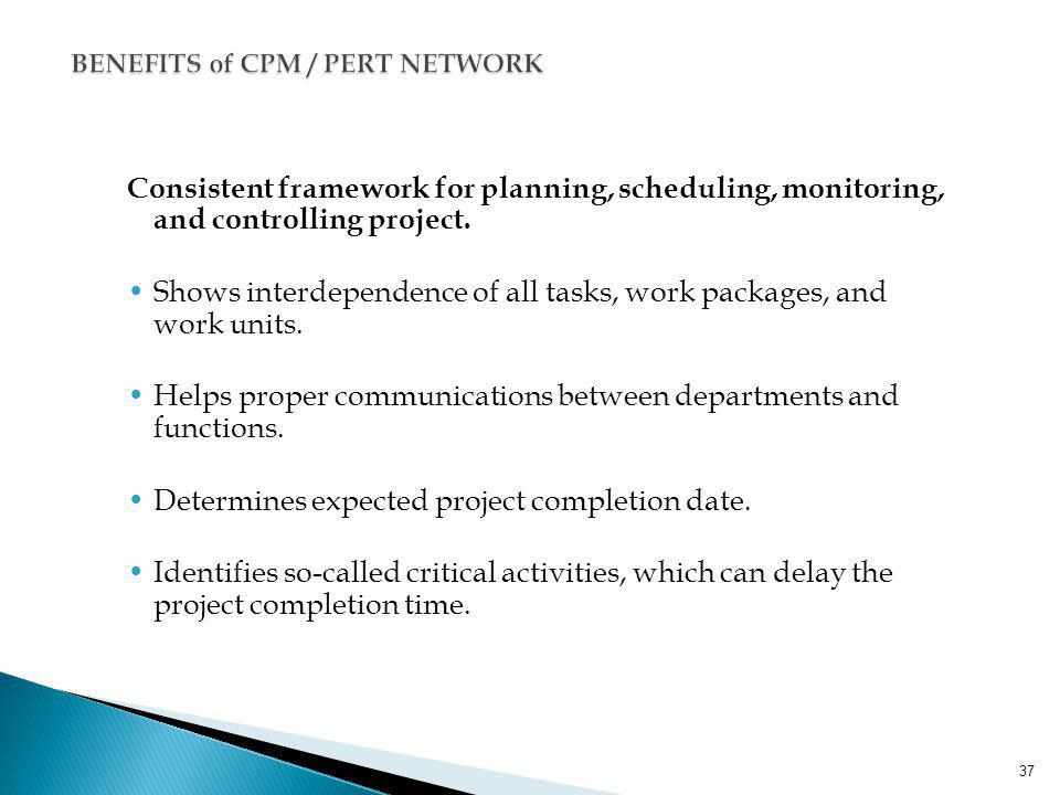 BENEFITS of CPM / PERT NETWORK