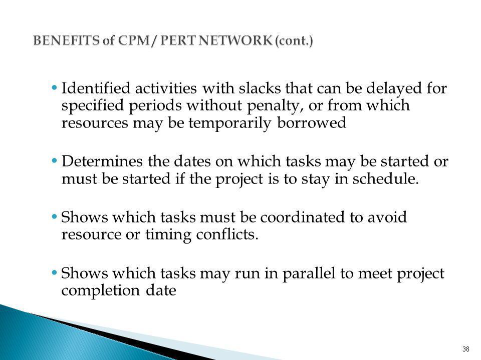 BENEFITS of CPM / PERT NETWORK (cont.)