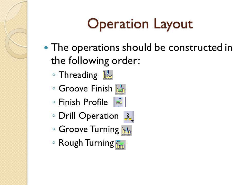 Operation Layout The operations should be constructed in the following order: Threading. Groove Finish.
