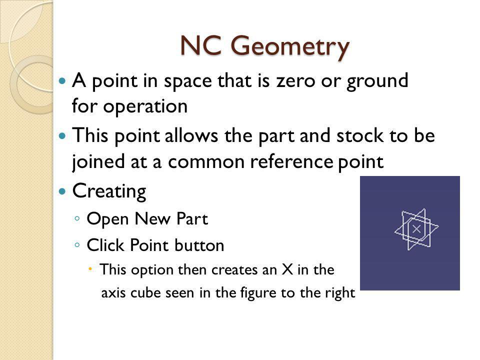 NC Geometry A point in space that is zero or ground for operation