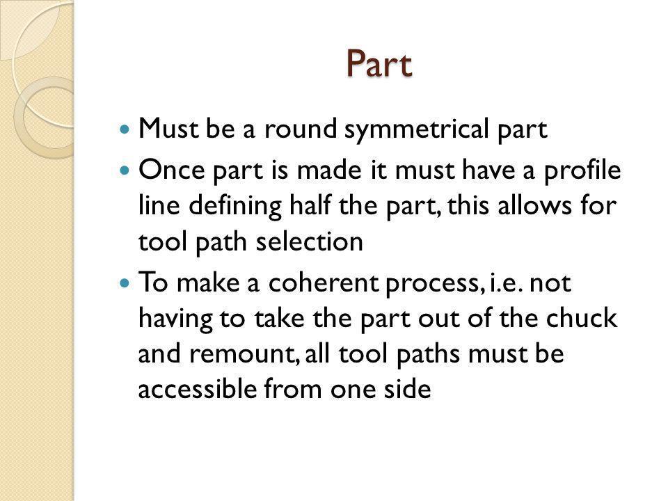 Part Must be a round symmetrical part