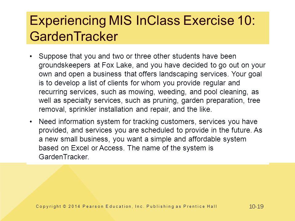 Experiencing MIS InClass Exercise 10: GardenTracker