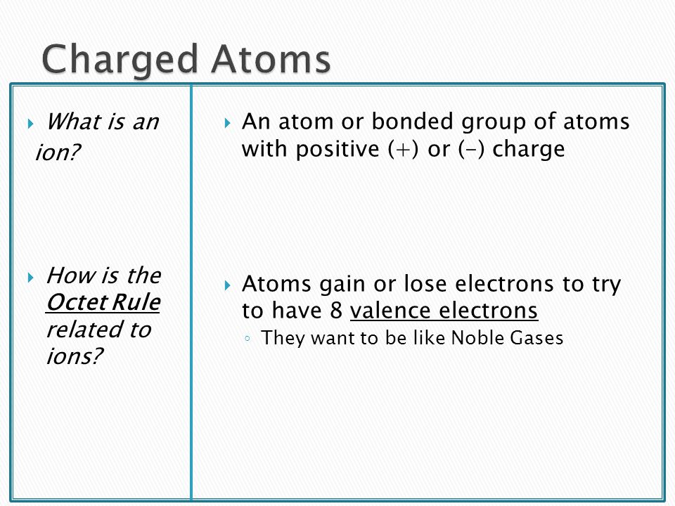 Charged Atoms What is an