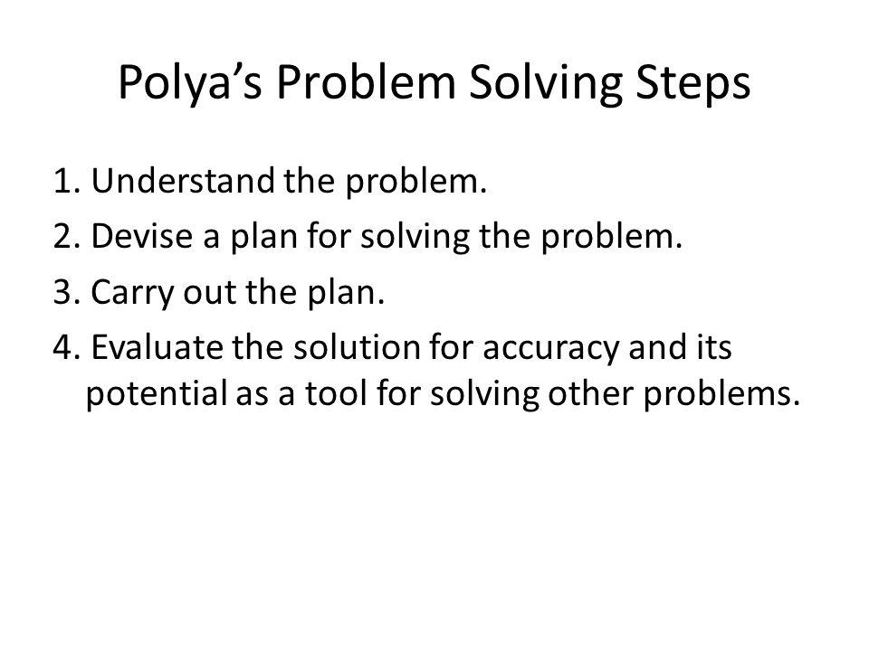 Polya's Problem Solving Steps