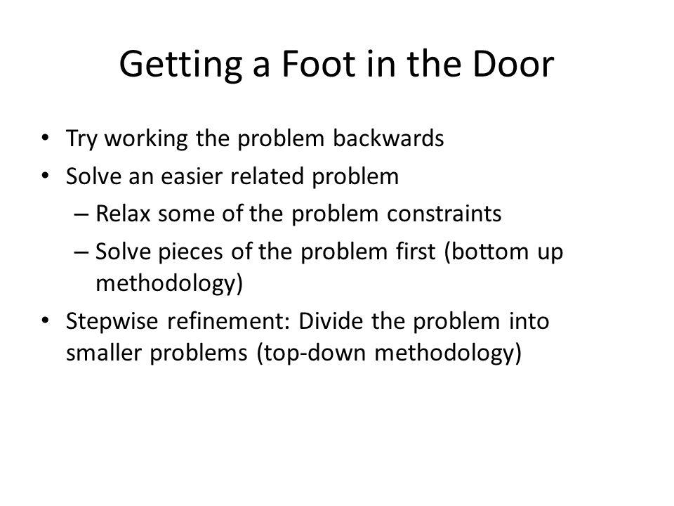 Getting a Foot in the Door