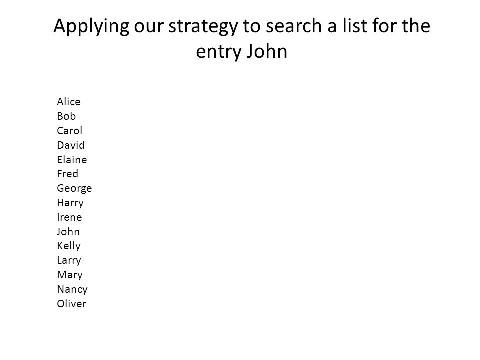 Applying our strategy to search a list for the entry John