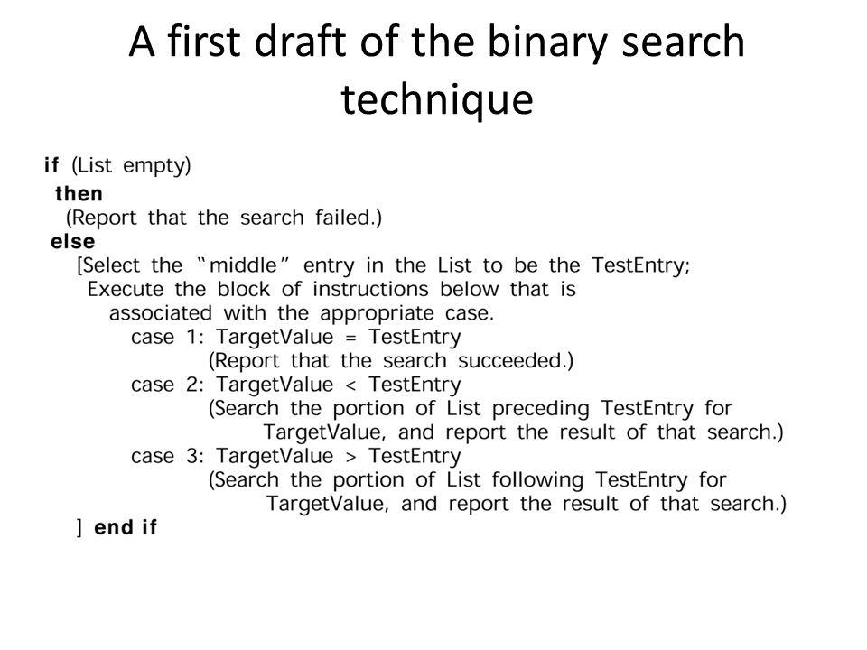 A first draft of the binary search technique