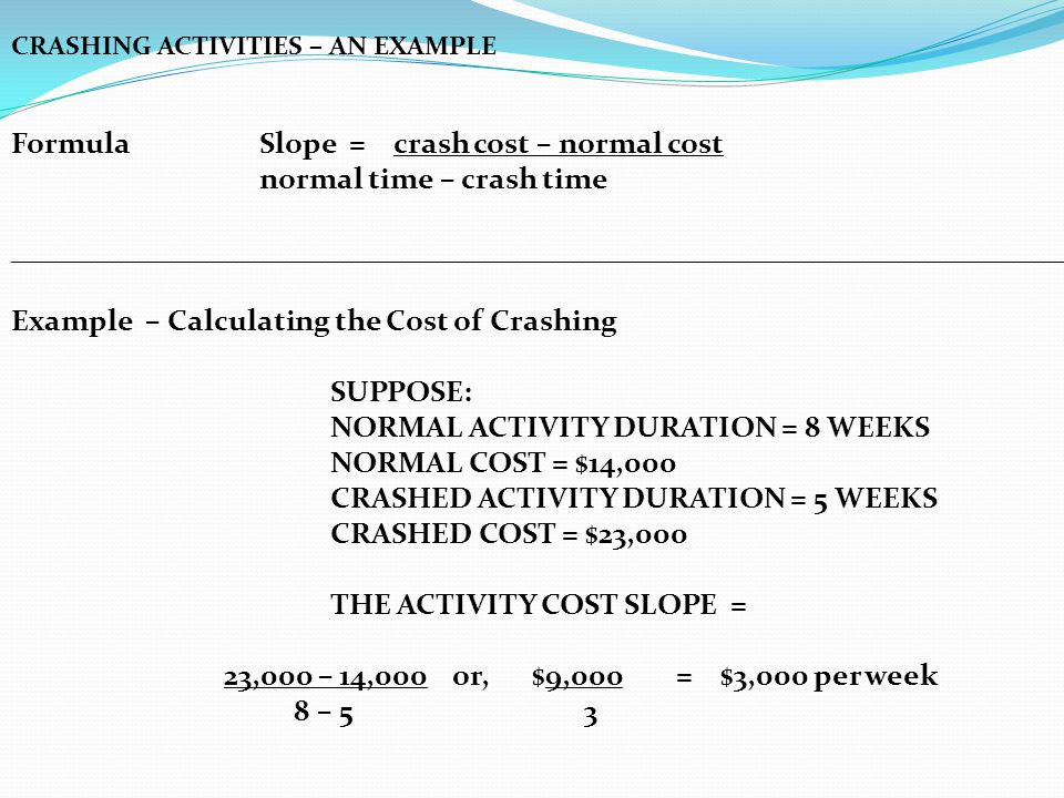 Formula Slope = crash cost – normal cost normal time – crash time