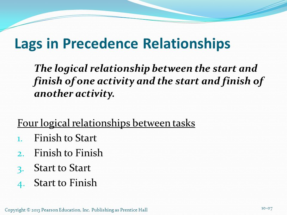 Lags in Precedence Relationships