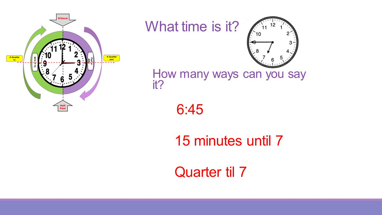 What time is it 6:45 15 minutes until 7 Quarter til 7