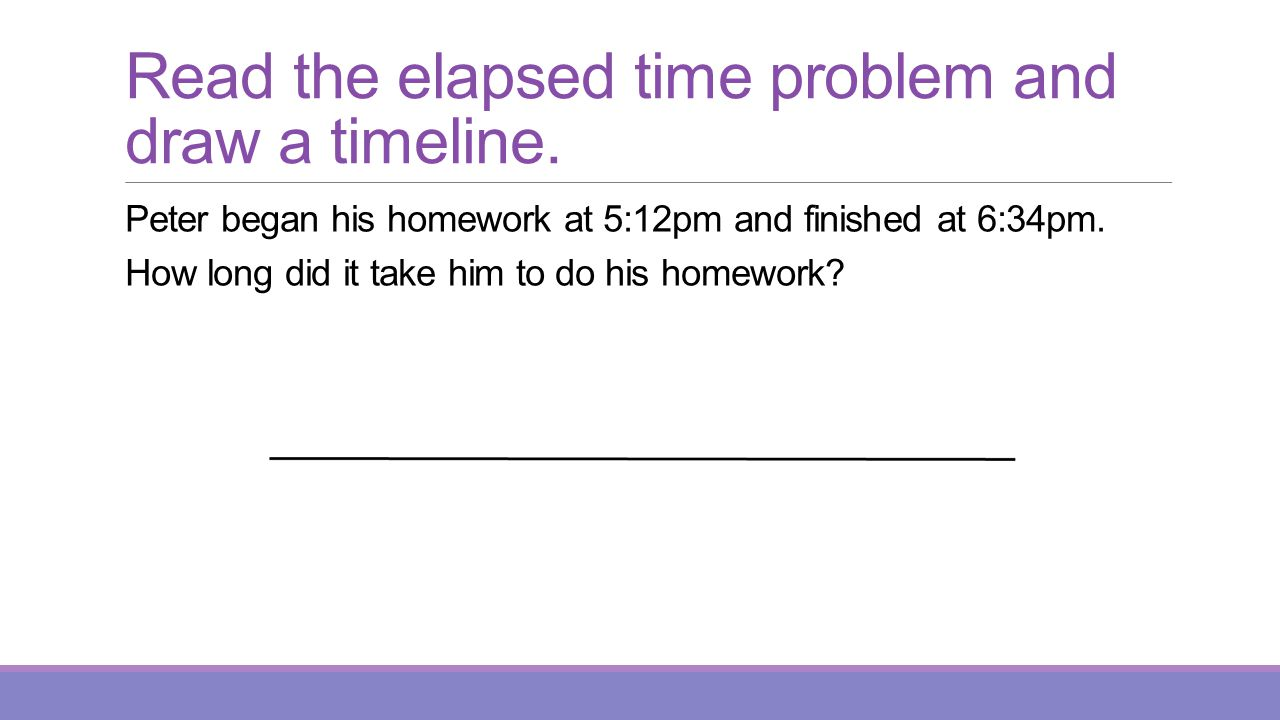 Read the elapsed time problem and draw a timeline.