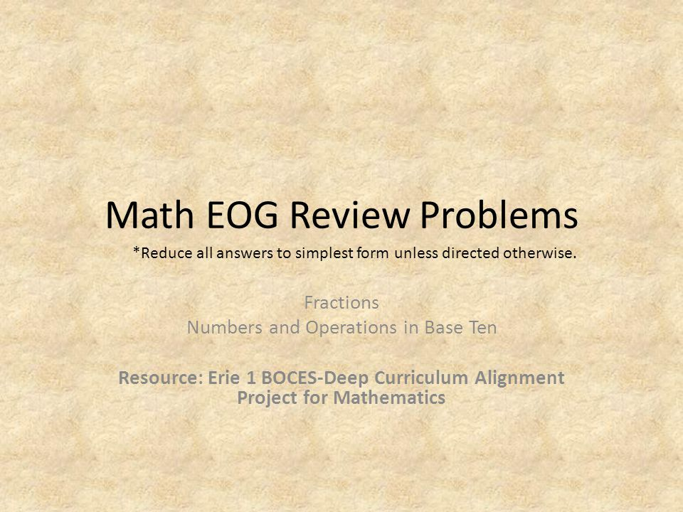 Math EOG Review Problems