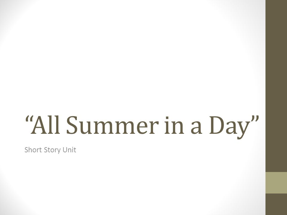 All Summer in a Day Short Story Unit