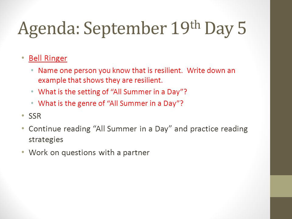 Agenda: September 19th Day 5