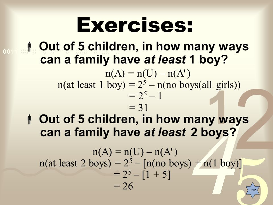Exercises: Out of 5 children, in how many ways