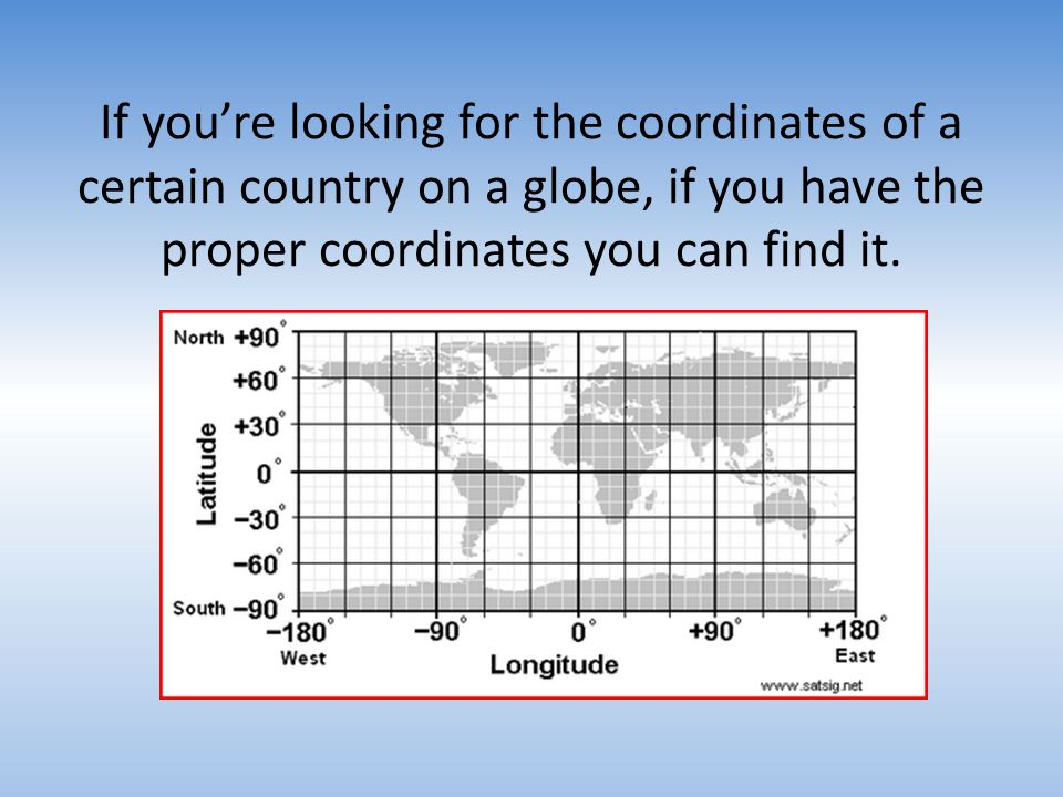 If you're looking for the coordinates of a certain country on a globe, if you have the proper coordinates you can find it.
