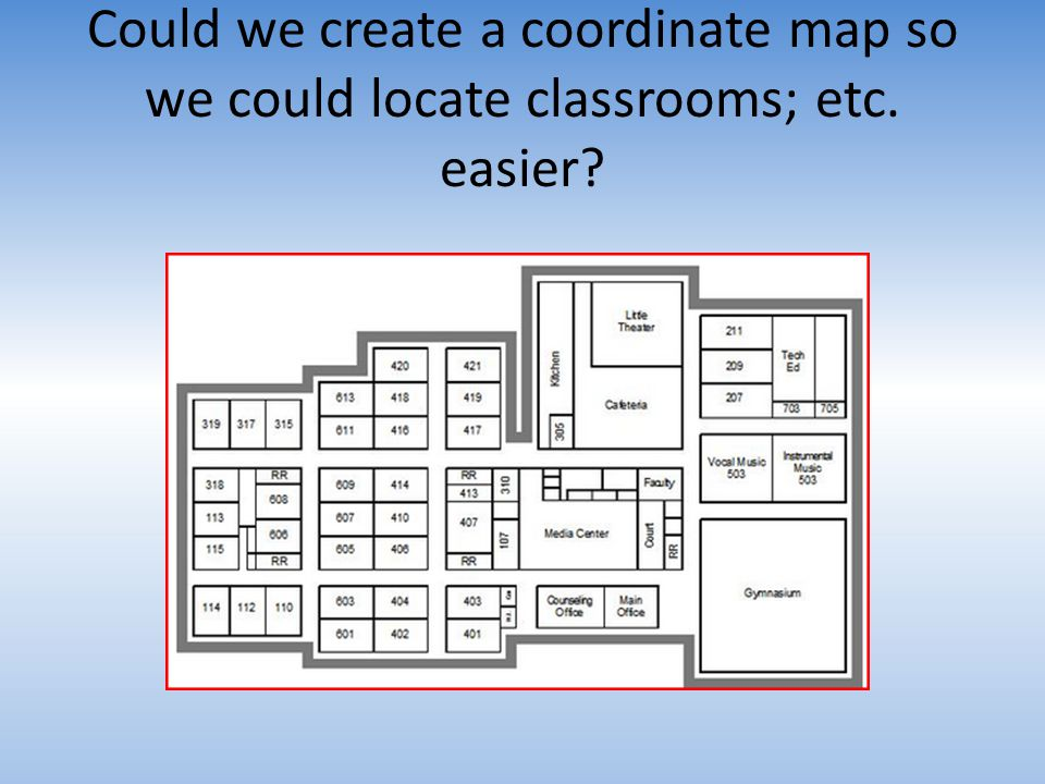 Could we create a coordinate map so we could locate classrooms; etc