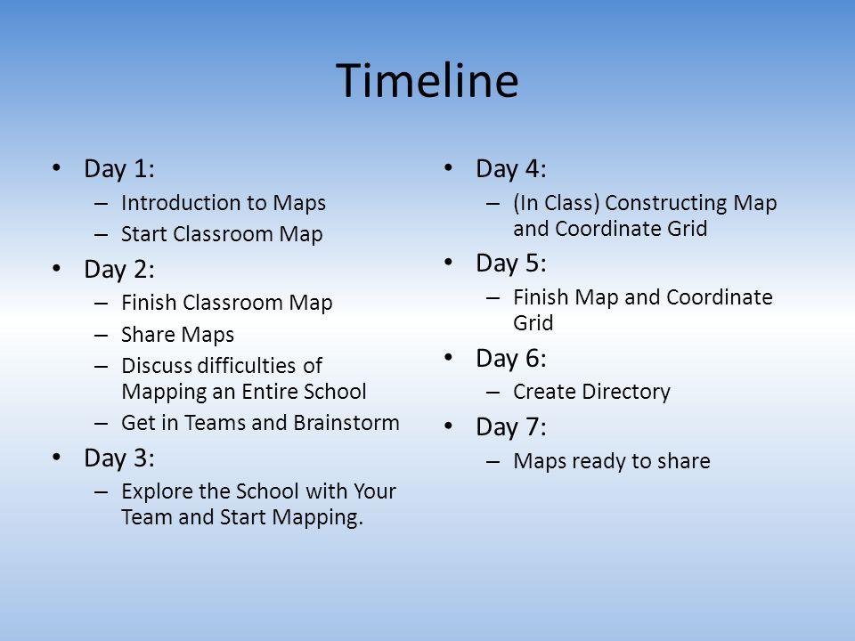 Timeline Day 1: Day 2: Day 3: Day 4: Day 5: Day 6: Day 7: