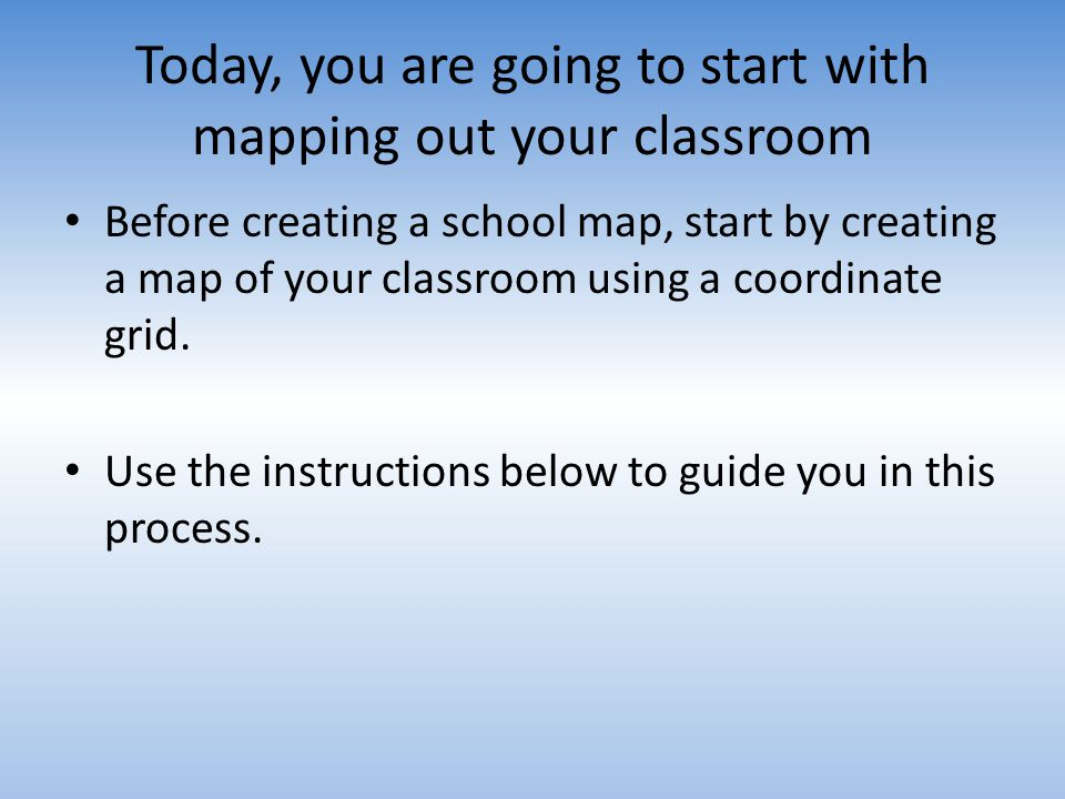 Today, you are going to start with mapping out your classroom