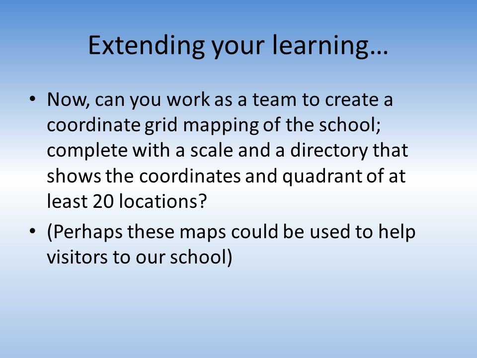 Extending your learning…