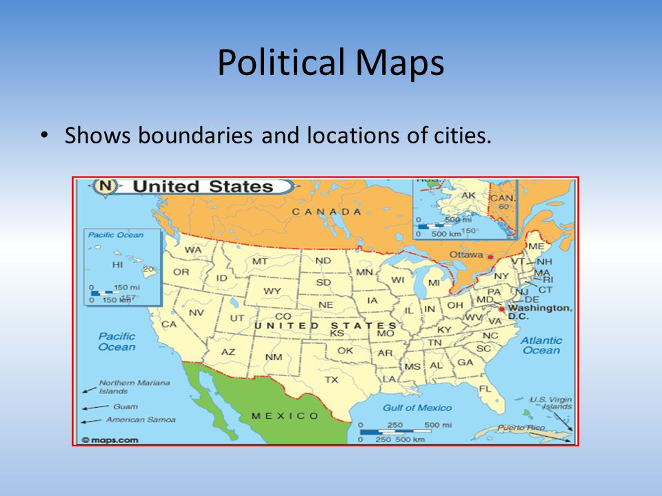 Political Maps Shows boundaries and locations of cities.
