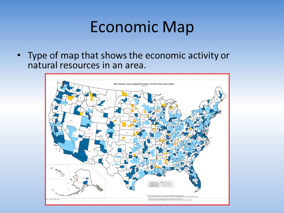Economic Map Type of map that shows the economic activity or natural resources in an area.