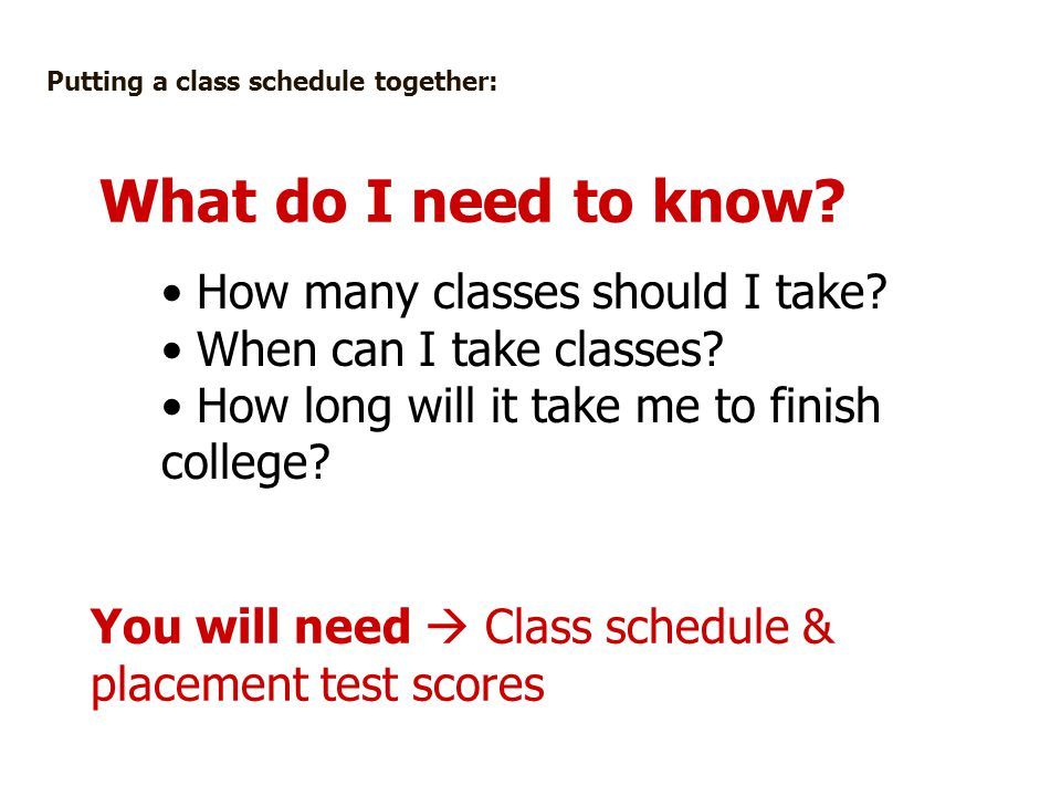 What do I need to know How many classes should I take