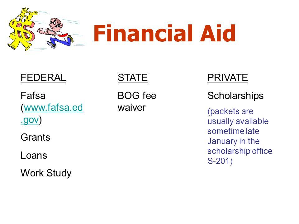 Financial Aid FEDERAL Fafsa (www.fafsa.ed.gov) Grants Loans Work Study