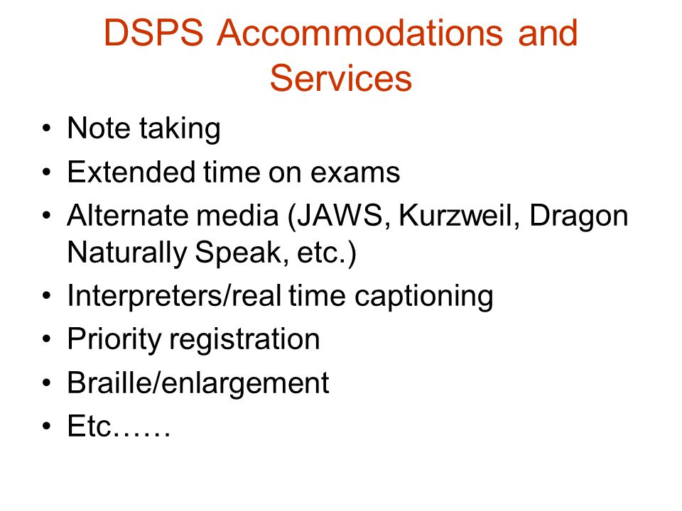DSPS Accommodations and Services