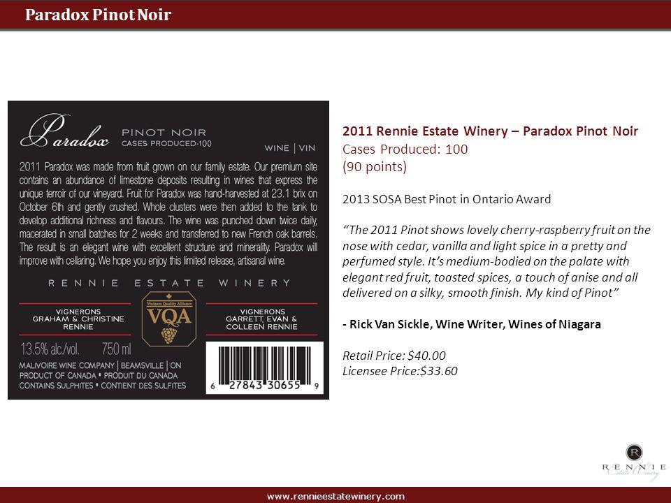 Paradox Pinot Noir 2011 Rennie Estate Winery – Paradox Pinot Noir
