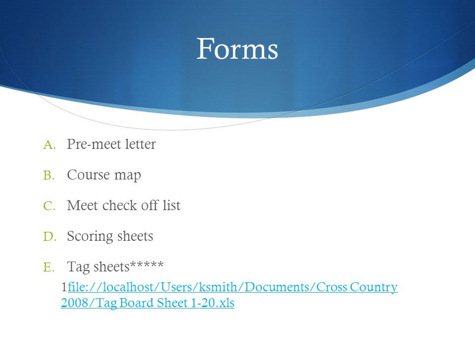 Forms Pre-meet letter Course map Meet check off list Scoring sheets