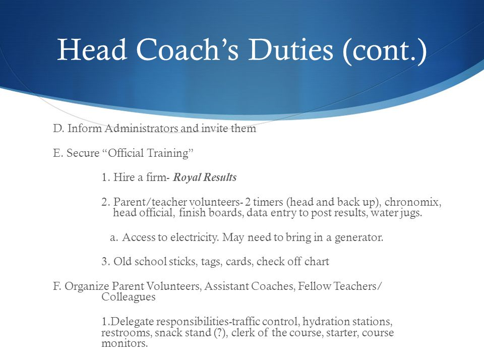 Head Coach's Duties (cont.)