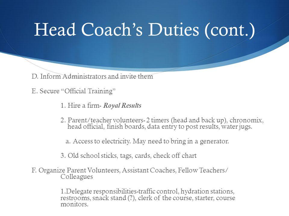 Head Coach's Duties (cont.)