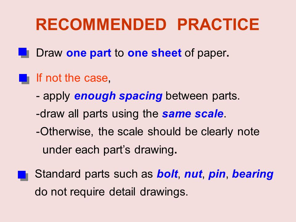 RECOMMENDED PRACTICE Draw one part to one sheet of paper.