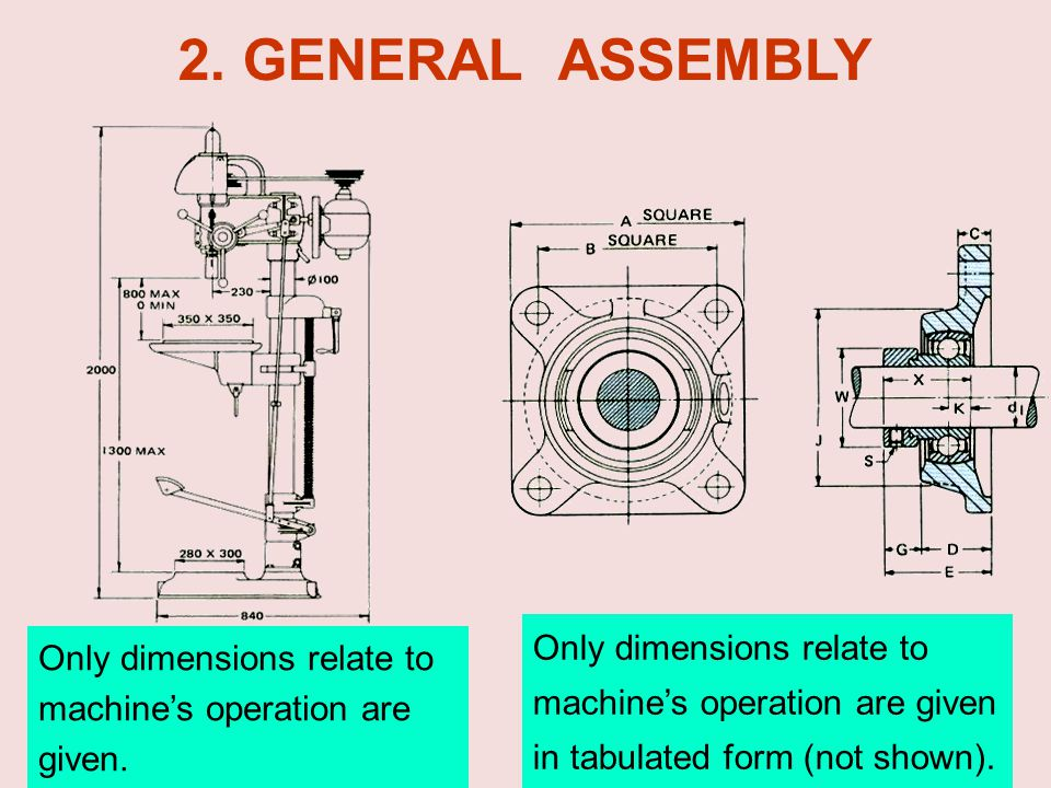 2. GENERAL ASSEMBLY Only dimensions relate to machine's operation are given. in tabulated form (not shown).