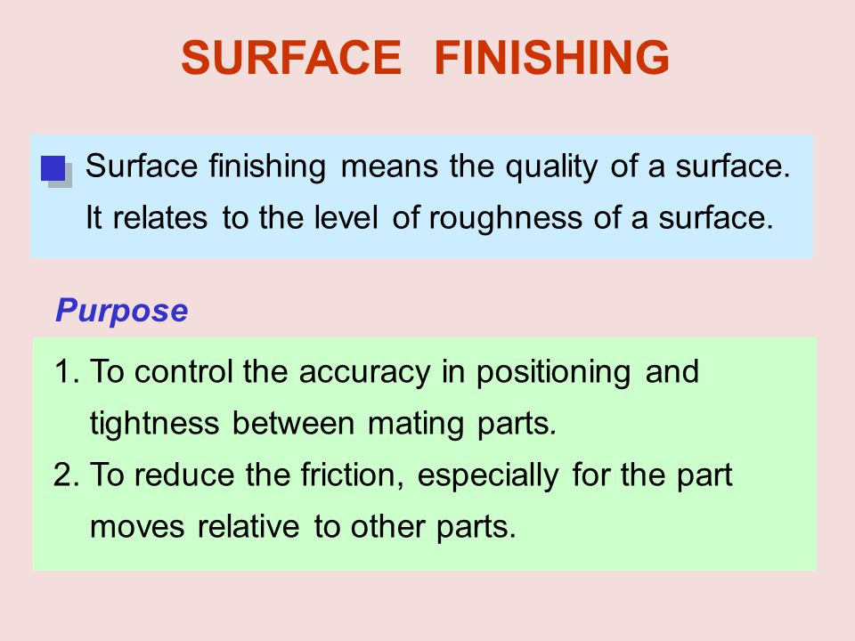 SURFACE FINISHING Surface finishing means the quality of a surface. It relates to the level of roughness of a surface.