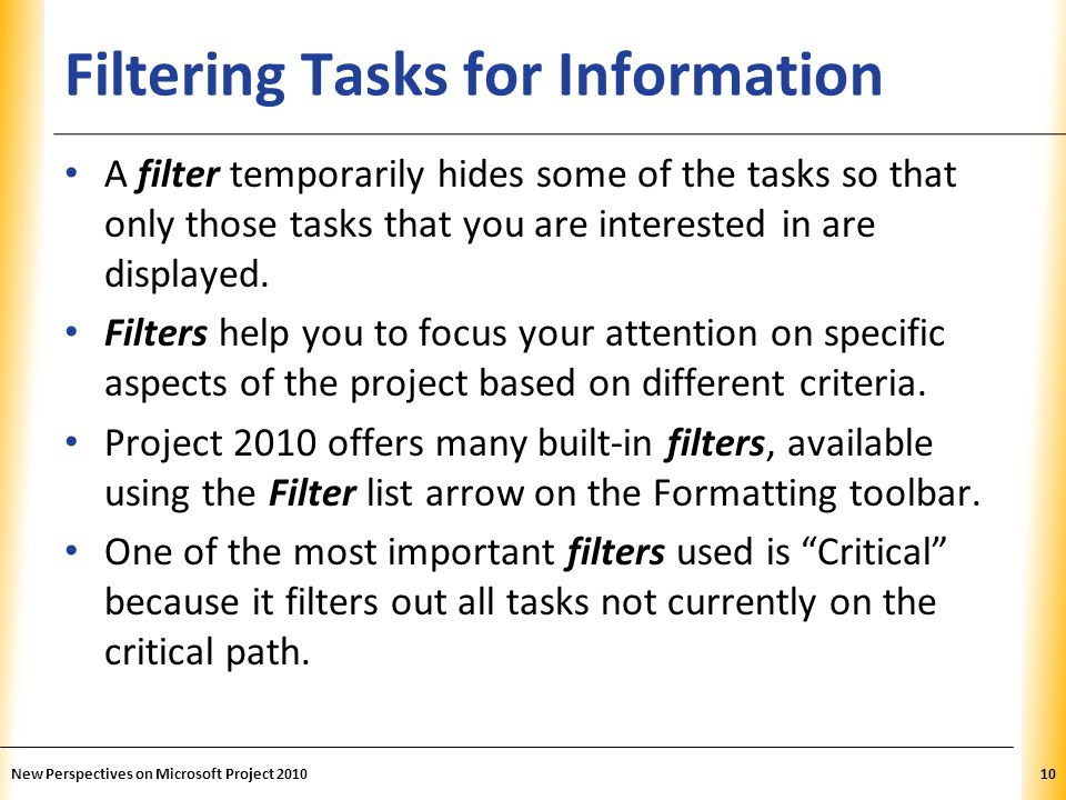 Filtering Tasks for Information