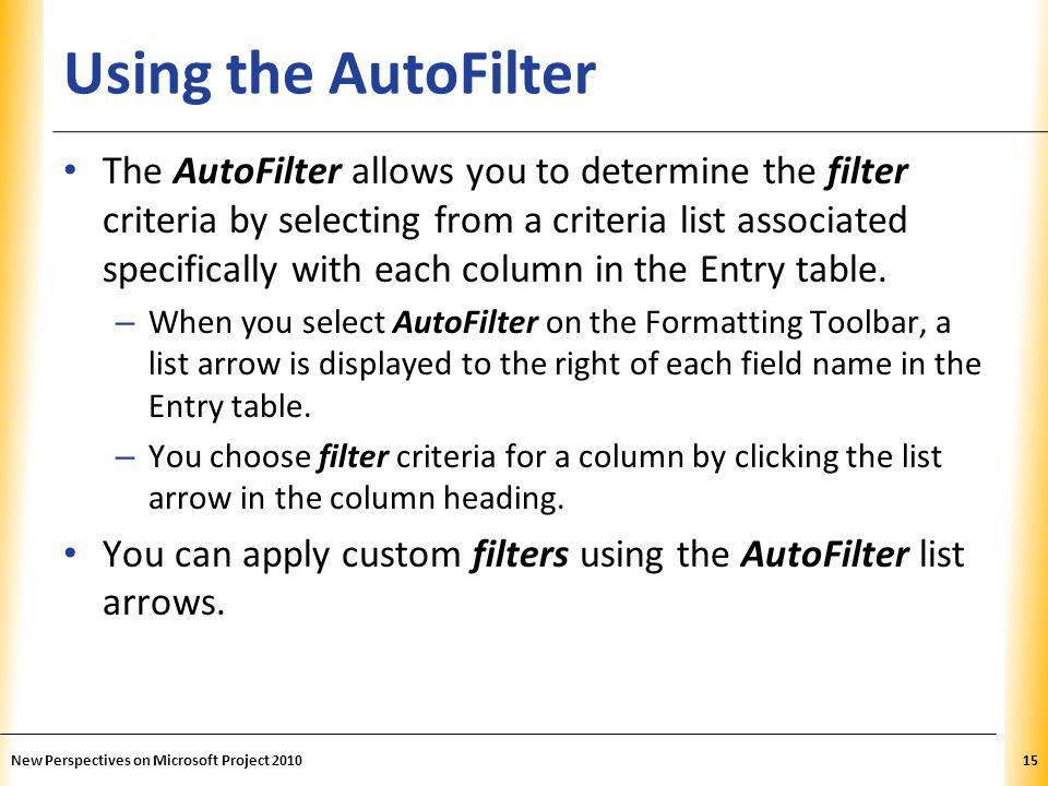 Using the AutoFilter
