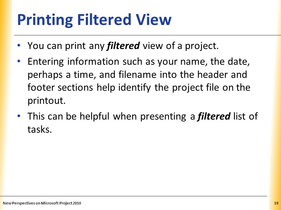 Printing Filtered View