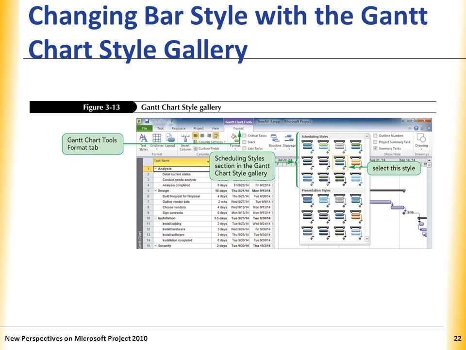 Changing Bar Style with the Gantt Chart Style Gallery