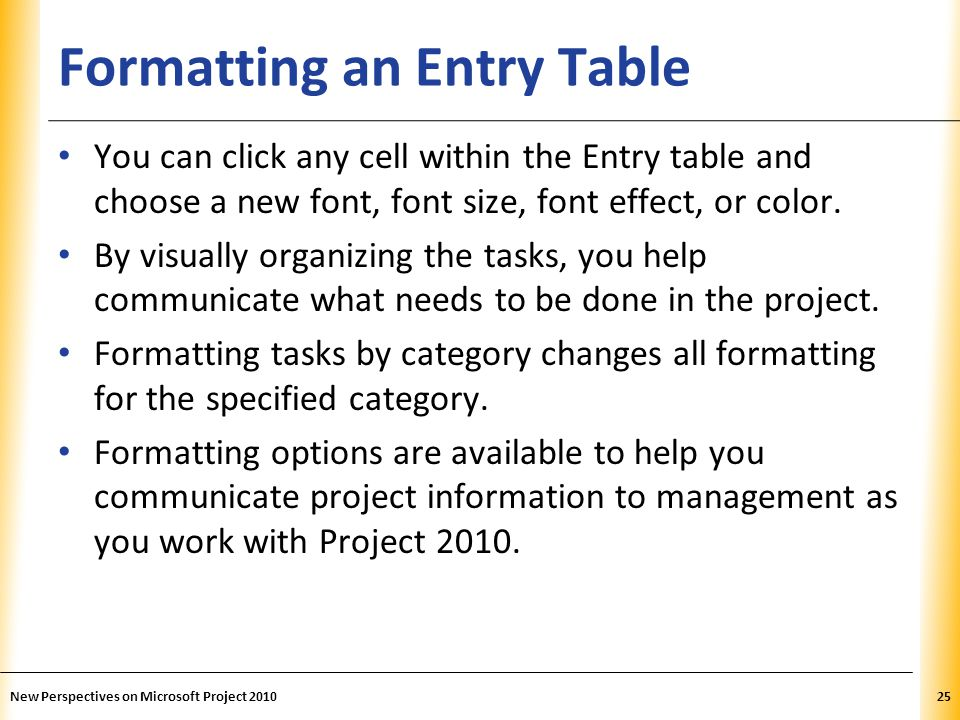 Formatting an Entry Table