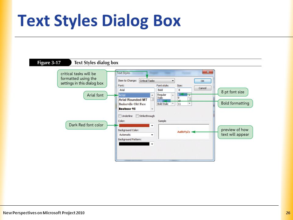 Text Styles Dialog Box New Perspectives on Microsoft Project 2010