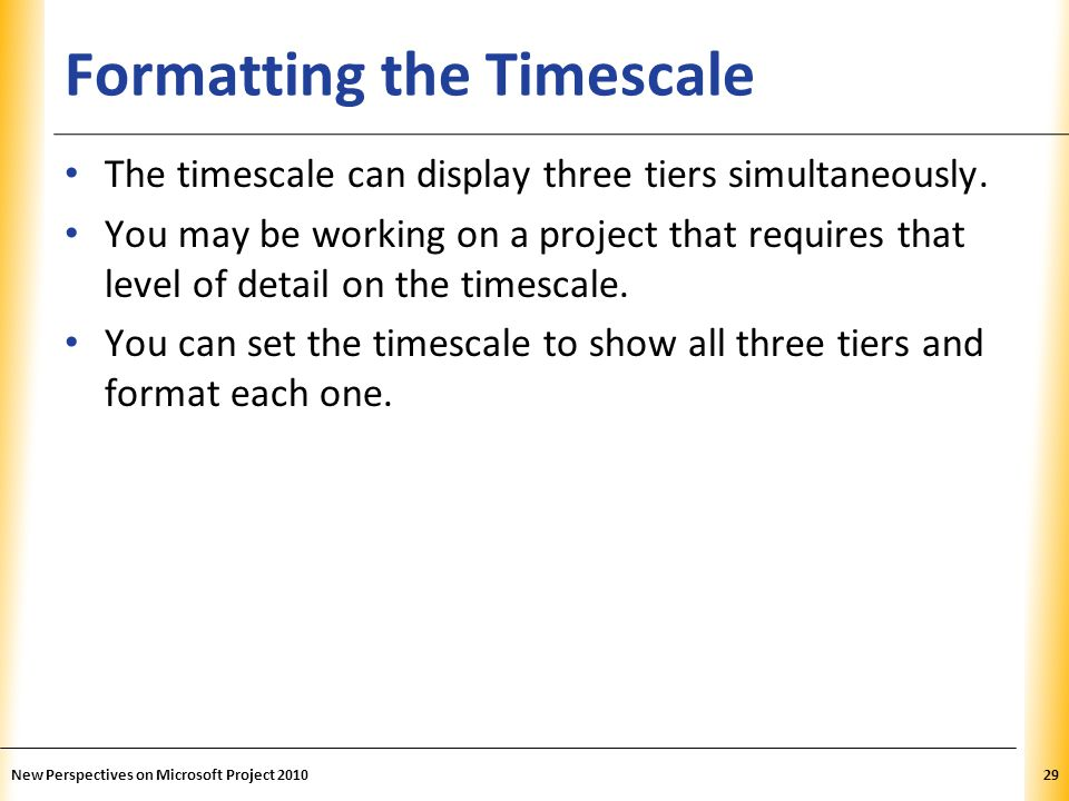 Formatting the Timescale