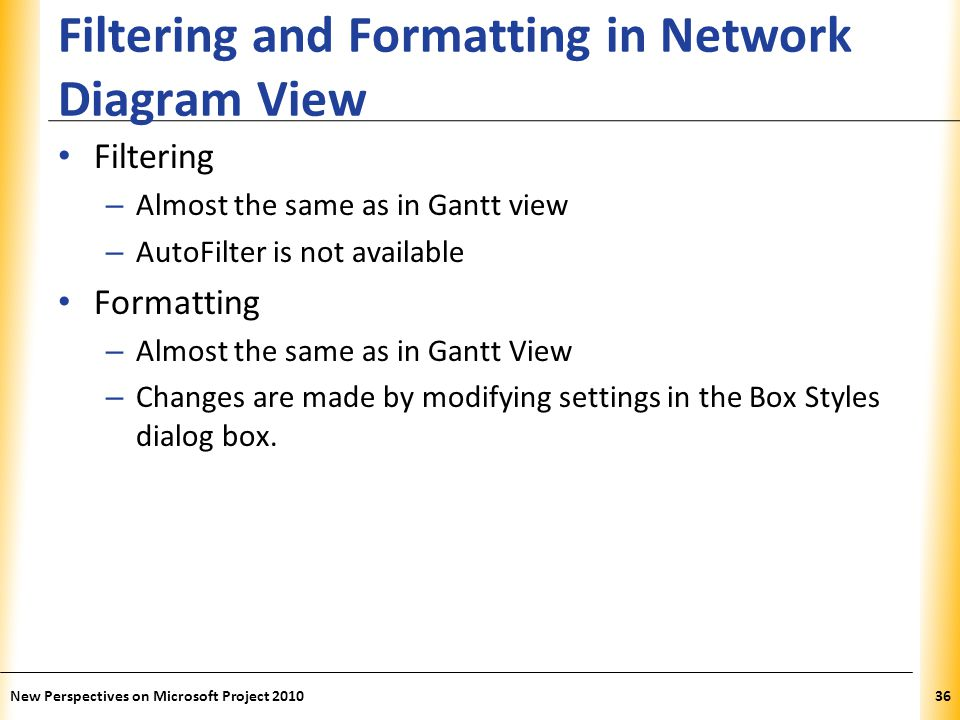 Filtering and Formatting in Network Diagram View
