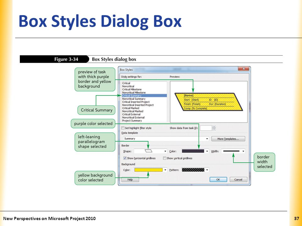 Box Styles Dialog Box New Perspectives on Microsoft Project 2010