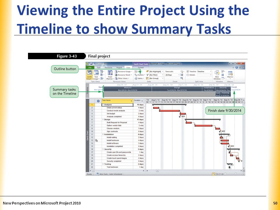 Viewing the Entire Project Using the Timeline to show Summary Tasks